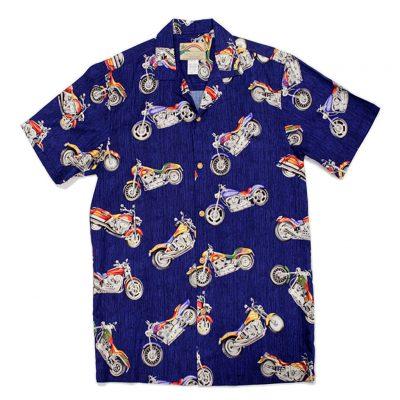 Mens Paradise Found Aloha Short Sleeve Hawaiian Camp Shirt, Motorcycle Navy