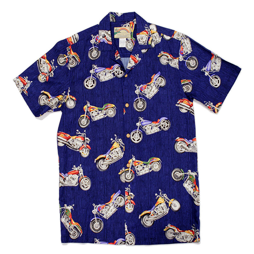dcbb4821 Mens Paradise Found Aloha Short Sleeve Hawaiian Camp Shirt, Motorcycle Navy