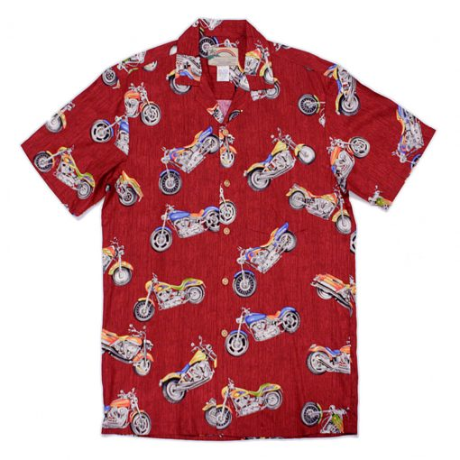 Mens Paradise Found Aloha Short Sleeve Hawaiian Camp Shirt, Motorcycle Red