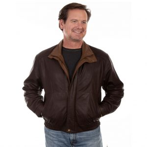Scully Men's Leather Featherlite Jacket #48-264 Chocolate With Cognac Double Collar