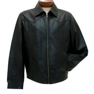 Men's Scully Leather Jacket, Premium Lightweight Lambskin #723-11 Black