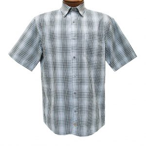 F/X Fusion Mens Shirt, Short Sleeve Woven Grid Check #D1070 Black/White (L, ONLY!)