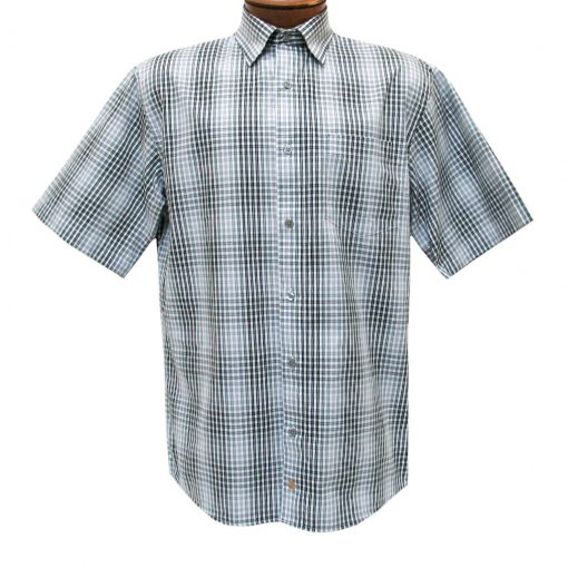 F/X Fusion Mens Shirt, Short Sleeve Woven Grid Check #D1070 Black/White