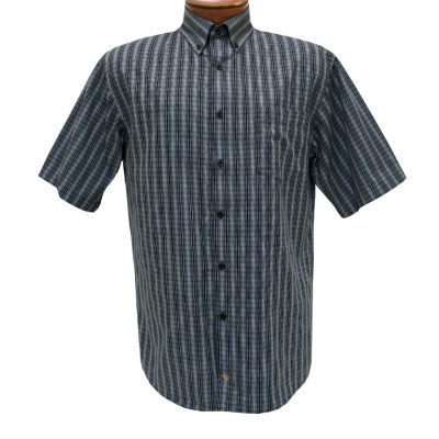 F/X Fusion Mens Shirt, Short Sleeve Woven Micro Check #D1071 Black