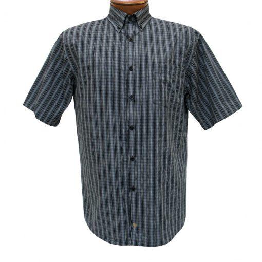 F/X Fusion Mens Shirt, Short Sleeve Woven Micro Check #D1071 Black