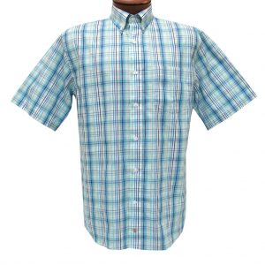 F/X Fusion Mens Shirt, Short Sleeve Woven Aqua/Blue Multi Plaid #D1079 (XXL, ONLY!)