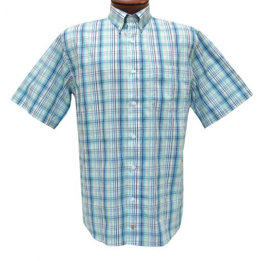 F/X Fusion Mens Shirt, Short Sleeve Woven Aqua/Blue Multi Plaid #D1079
