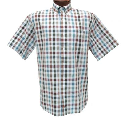 F/X Fusion Mens Shirt, Short Sleeve Woven Multi Colored Check #D1082