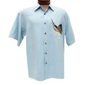 Men's Bamboo Cay Short Sleeve Embroidered Modal Blend Aloha Shirt, Mighty Sailfish #WB005 Chalk Blue