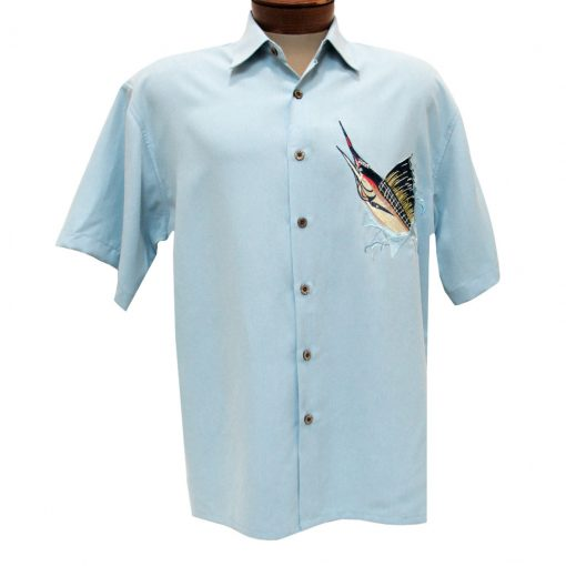 Men's Bamboo Cay Short Sleeve Embroidered Modal Blend Aloha Shirt, Mighty Sailfish #WB005 Chalk Blue