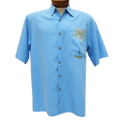 Men's Bamboo Cay Short Sleeve Embroidered Modal Blend Shirt, Peek-A-Boo Palm Cobalt Blue