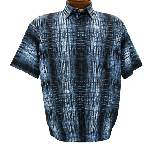 Men's Banded Bottom Shirt By Bassiri, Our Exclusive Microfiber-Polyester Short Sleeve Easy Care #39325 Charcoal