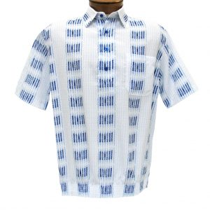 Men's Banded Bottom Shirt By Bassiri, Our Exclusive Microfiber-Polyester Short Sleeve, Easy Care #39355 White (M & L, ONLY!)