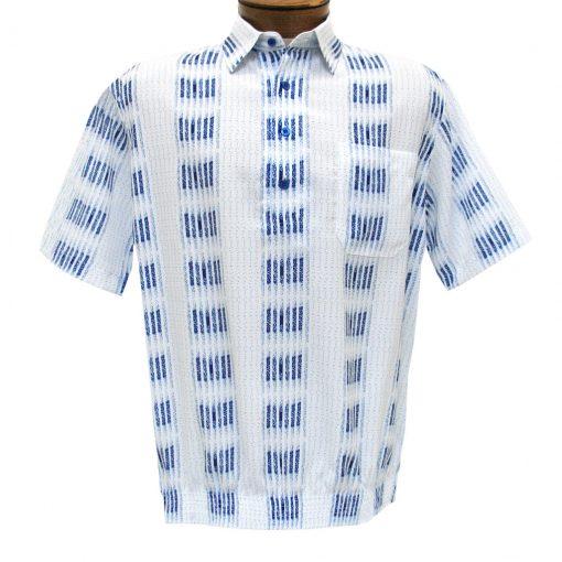 Men's Banded Bottom Shirt By Bassiri, Microfiber-Polyester Short Sleeve Easy Care #39355 White