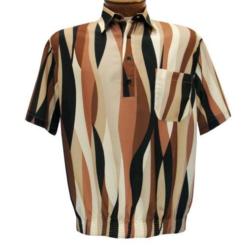 Men's Banded Bottom Shirt By Bassiri, Microfiber-Polyester Short Sleeve Easy Care #39425 Mocha