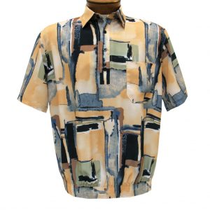 Men's Banded Bottom Shirt By Bassiri, Our Exclusive Microfiber-Polyester Short Sleeve, Easy Care #39555 Beige (M, ONLY!)