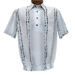 Men's Banded Bottom Shirt By Bassiri, Our Exclusive Microfiber-Polyester Short Sleeve, Easy Care #62045 White