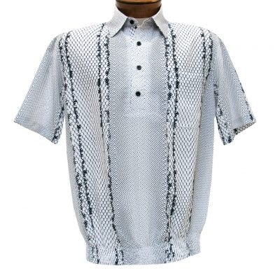 Men's Banded Bottom Shirt By Bassiri, Our Exclusive Microfiber-Polyester Short Sleeve Easy Care #62045 White
