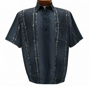 Men's Banded Bottom Shirt By Bassiri, Our Exclusive Microfiber-Polyester Short Sleeve, Easy Care #62105 Black (S, ONLY!)