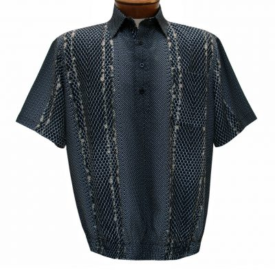Men's Banded Bottom Shirt By Bassiri, Microfiber-Polyester Short Sleeve Easy Care #62105 Black