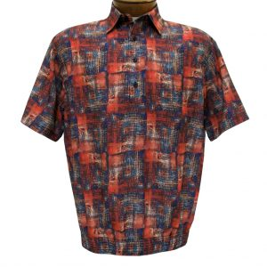 Men's Banded Bottom Shirt By Bassiri, Our Exclusive Microfiber-Polyester Short Sleeve, Easy Care #62405 Red (M, ONLY!)