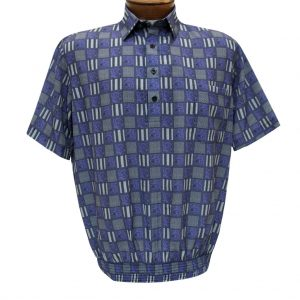 Men's Banded Bottom Shirt By Bassiri, Our Exclusive Microfiber-Polyester Short Sleeve, Easy Care #62435 Violet (M & L, ONLY!)