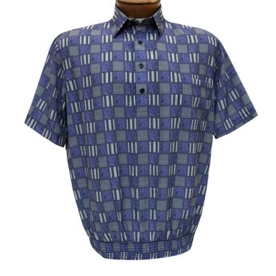 Men's Banded Bottom Shirt By Bassiri, Microfiber-Polyester Short Sleeve Easy Care #62435 Violet