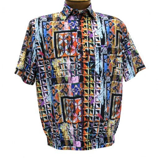 Men's Banded Bottom Shirt By Bassiri, Our Exclusive Microfiber-Polyester Short Sleeve, Easy Care #62465 Multi