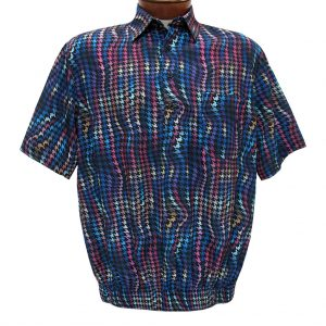 Men's Banded Bottom Shirt By Bassiri, Our Exclusive Microfiber-Polyester Short Sleeve, Easy Care #62585 Multi (M & L, ONLY!)