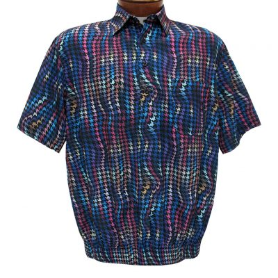 Men's Banded Bottom Shirt By Bassiri, Our Exclusive Microfiber-Polyester Short Sleeve Easy Care #62585 Multi