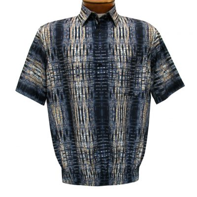 Men's Banded Bottom Shirt By Bassiri, Our Exclusive Microfiber-Polyester Short Sleeve Easy Care #62615 Black/Beige