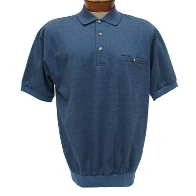 Men's Banded Bottom Shirt, Short Sleeve Diamond Knit, Classics By Palmland #6190-149 Navy