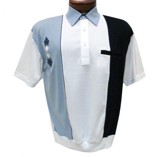 Men's Classics By Palmland Short Sleeve Vertical Pieced Knit Banded Bottom Shirt #BL6010-650 Light Blue