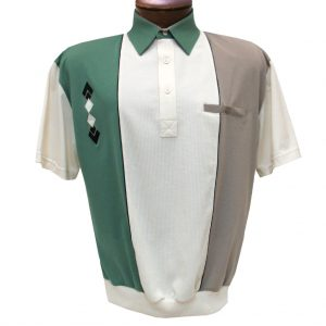 Men's Classics By Palmland Short Sleeve Vertical Pieced Knit Banded Bottom Shirt #BL6010-650 Sage (SOLD OUT!)