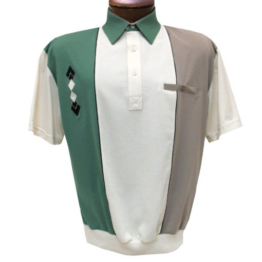 Men's Classics By Palmland Short Sleeve Vertical Pieced Knit Banded Bottom Shirt #BL6010-650 Sage