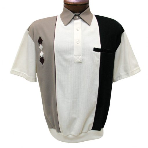 Men's Classics By Palmland Short Sleeve Vertical Pieced Knit Banded Bottom Shirt #BL6010-650 Taupe