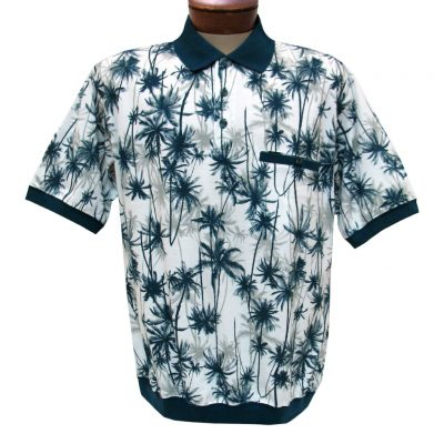 Men's Banded Bottom Shirt, Short Sleeve Jacquard Knit, Classics By Palmland #6070-321 Blue