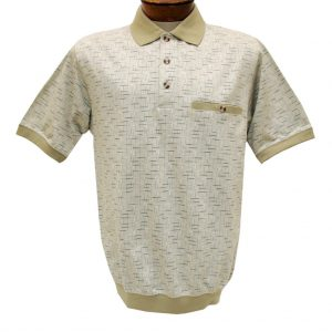 Men's Classics By Palmland Short Sleeve Jacquard Knit Banded Bottom Shirt, #6070-326 Twill (XXL, ONLY!)