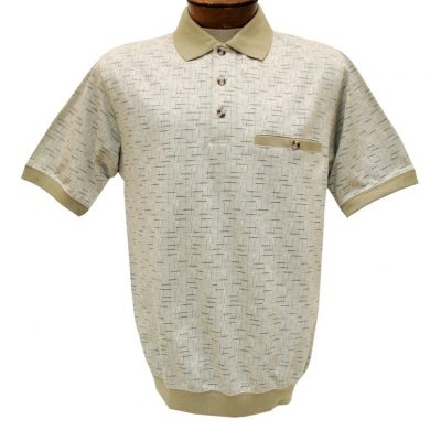 Men's Classics By Palmland Short Sleeve Jacquard Knit Banded Bottom Shirt, #6070-326 Twill