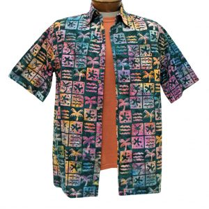 Men's Basic Options Batik Short Sleeve 100% Cotton Button Front Shirt, Blue Spruce Multi Squares #61952-6 (L, ONLY!)