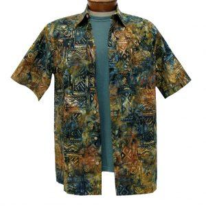 Men's Basic Options Batik Short Sleeve 100% Cotton Button Front Shirt, Olive Squares #61949-4