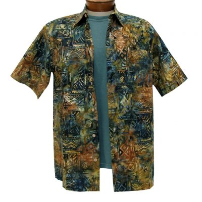 Men's Basic Options Batik Short Sleeve Button Front Shirt, Olive Squares #61949-4