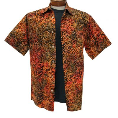 Men's Basic Options Batik Short Sleeve Button Front Shirt, Fire Orange Palms #61947-9