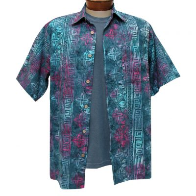 Men's Basic Options Batik Short Sleeve Button Front Shirt, Grey/Blue Floral Stripe #61953-1