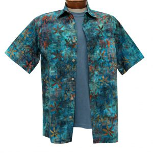 Men's Basic Options Batik Short Sleeve 100% Cotton Button Front Shirt, Ocean Blue Squares #61940-3 (SOLD OUT!)