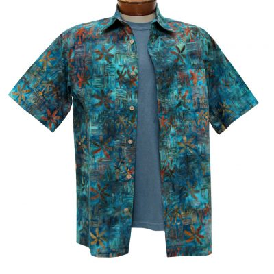 Men's Basic Options Batik Short Sleeve Button Front Shirt, Ocean Blue Squares #61940-3