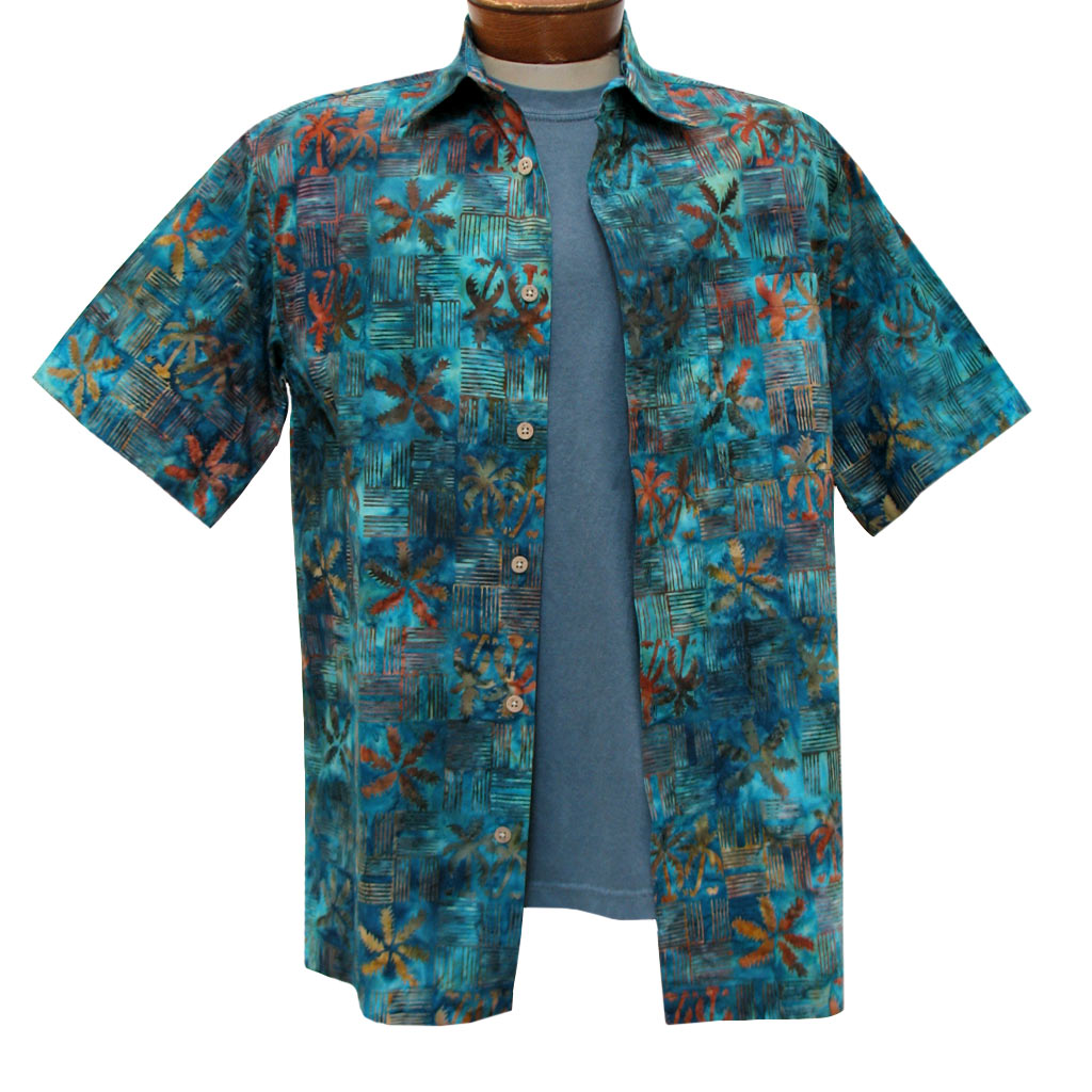 Men's Basic Options Batik Short Sleeve 100% Cotton Button