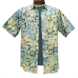 Men's Basic Options Batik Short Sleeve 100% Cotton Button Front Shirt, Olive Multi #61945-4 (L, ONLY!)