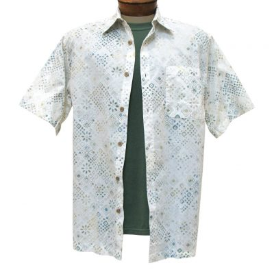 Men's Basic Options Batik Short Sleeve Button Front Shirt, White Bandanna Print #61950-1