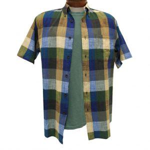 Men's Basic Options Textured Buffalo Plaid Short Sleeve Button Front Shirt, Blue #61925-3 (L, ONLY!)
